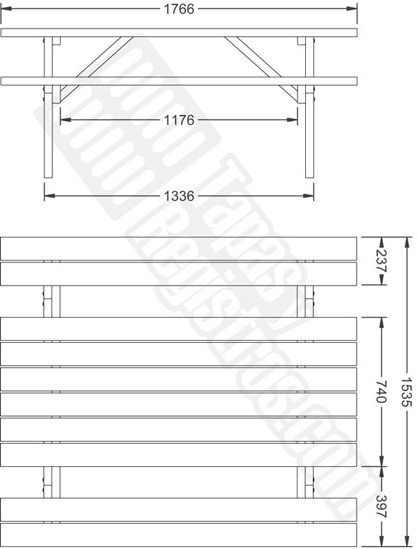 Mesa merendero con bancos de madera modelo E-PICNIC