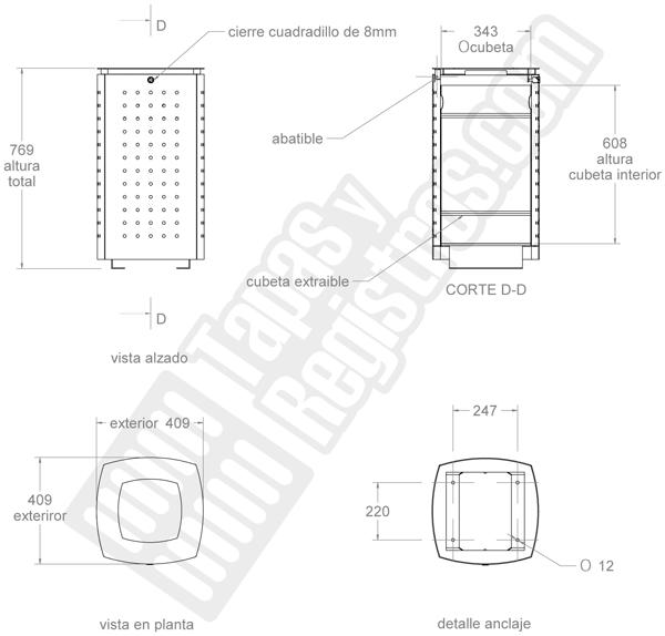 Papelera modelo AMG con cubeta interior, tapa y cierre