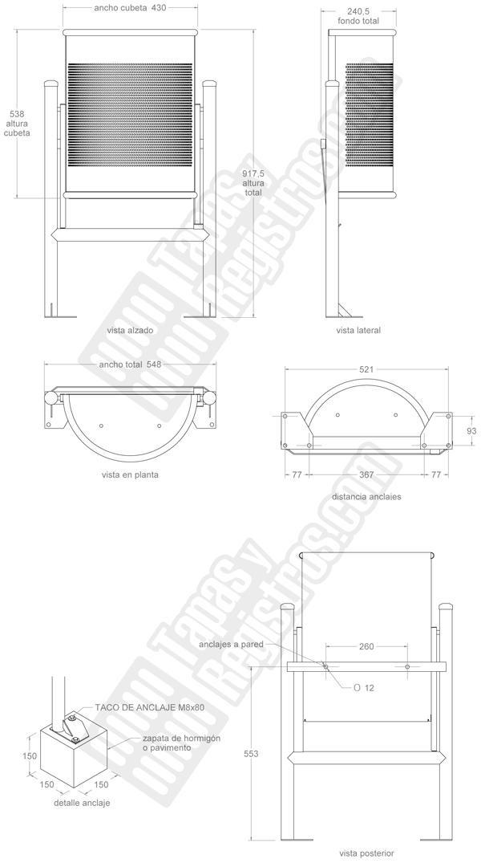 Papelera modelo Barcelona semicircular abatible en chapa perforada inoxidable Catálogo Productos