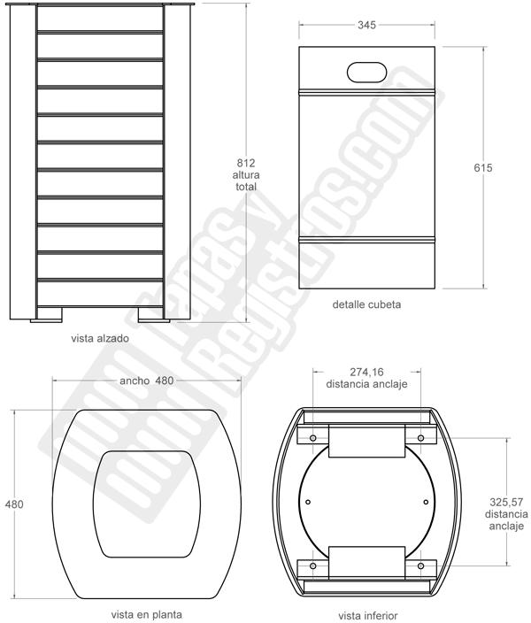 Papelera modelo Costa con cubeta interior, tapa y cierre