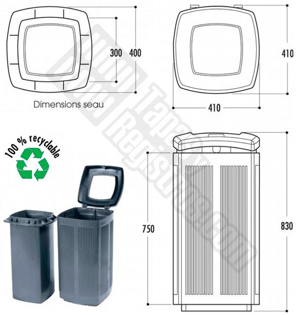 Papelera urbana de plástico polietileno reciclado modelo TOSCANA