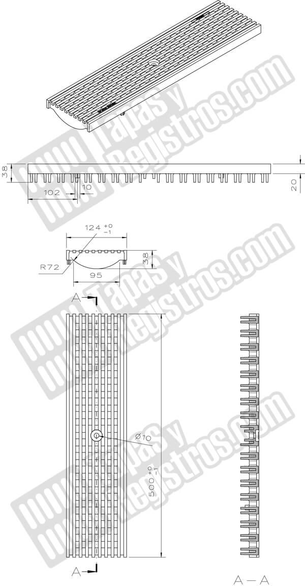 Rejilla de composite de largo 500 mm de empotrar Clase C-250