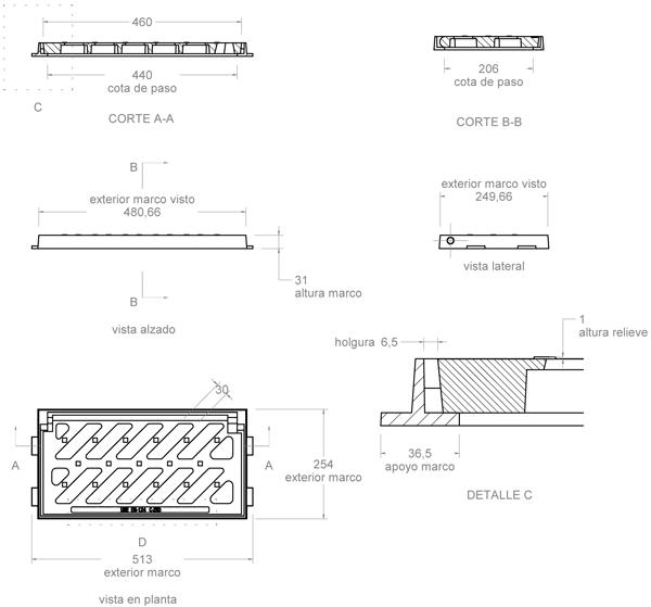 Rejilla de fundición dúctil 510x250 mm abatible o articulada Clase C-250