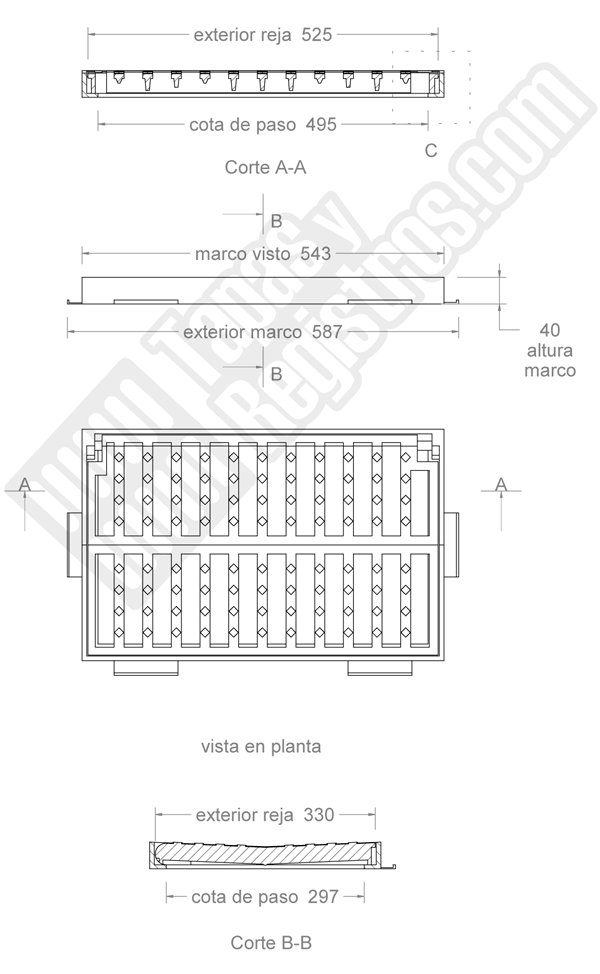 Rejilla de fundición dúctil 525x330 mm abatible o articulada Clase C-250
