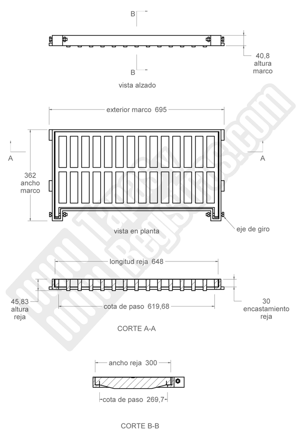 Rejilla de fundición dúctil 650x330 mm articulada Clase C-250