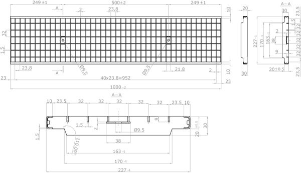Rejilla de acero galvanizado 227x1000 mm de empotrar entramada