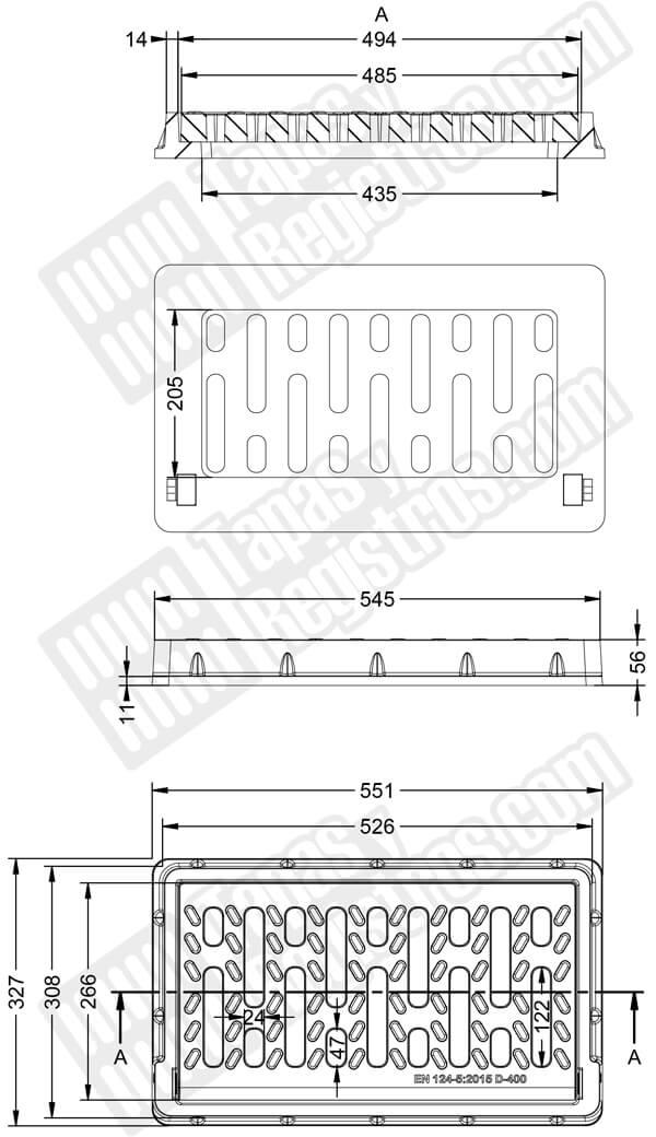 Rejilla y marco en composite de 350x450 mm - Clase C-250