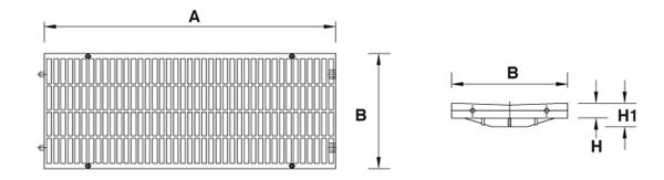 Rejilla de polipropileno de largo 500 mm de empotrar Clase A-15