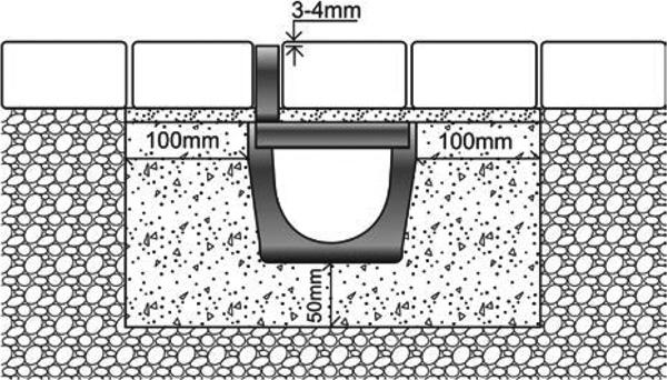 Rejilla ranurada oculta de 125x1000 mm en polipropileno
