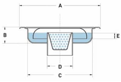Sumidero sifónico de acero inoxidable con salida vertical