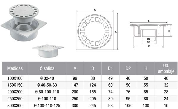 Sumidero sifónico de polipropileno salida vertical