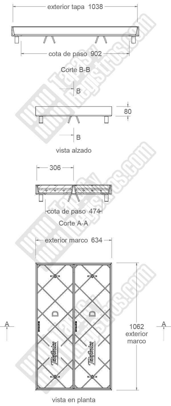 Tapa en hormigón con marco galvanizado telefónica TIPO DM