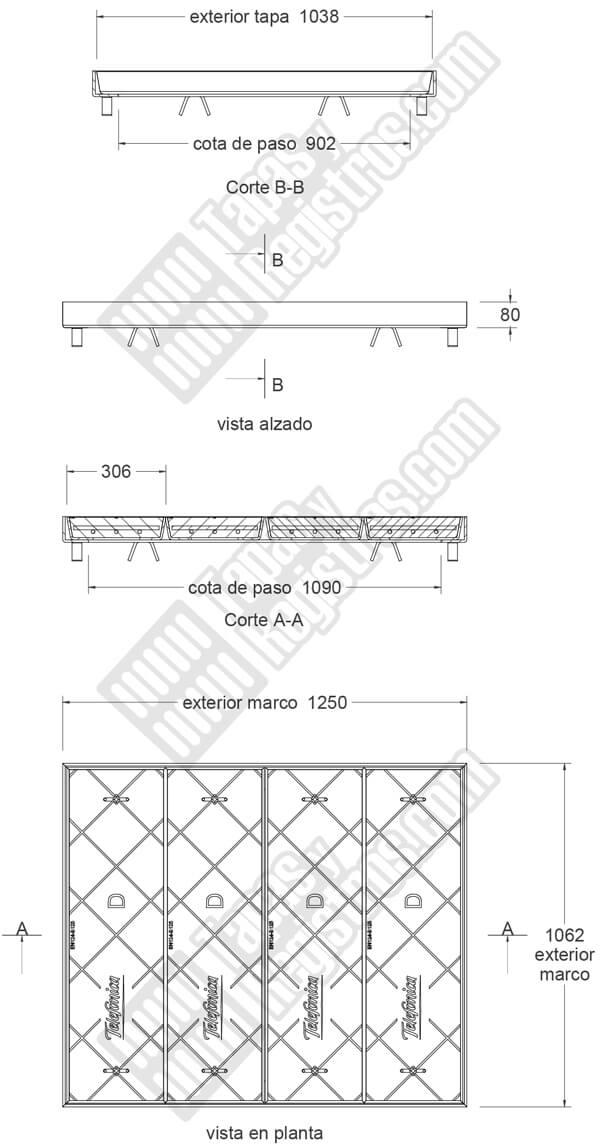 Tapa en hormigón cuádruple con marco galvanizado telefónica TIPO D