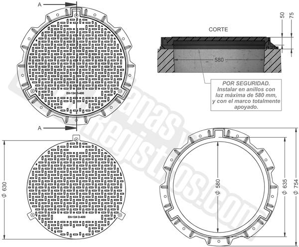Tapas para arquetas en composite D-400 Ø 630 mm H 75 mm