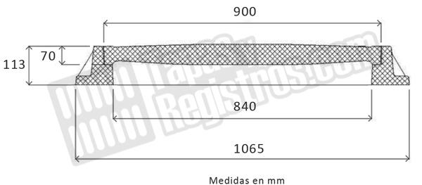 Tapas para arquetas en composite D-400 Ø 900 mm H 70 mm