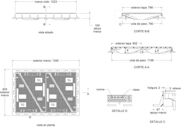 Tapas para arquetas en fundición dúctil clase D-400 1340x920 mm de 4 hojas triangulares