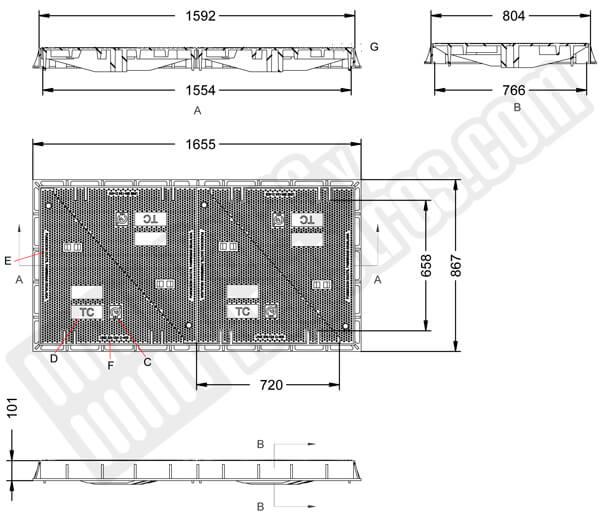 Tapas para arquetas en fundición dúctil clase D-400 1592x804 mm de 4 hojas triangulares