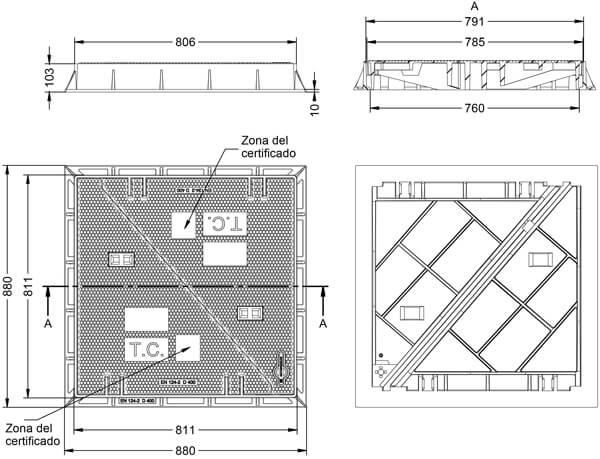 Tapas para arquetas en fundición dúctil clase D-400 806x806 mm de 2 hojas triangulares Catálogo Productos