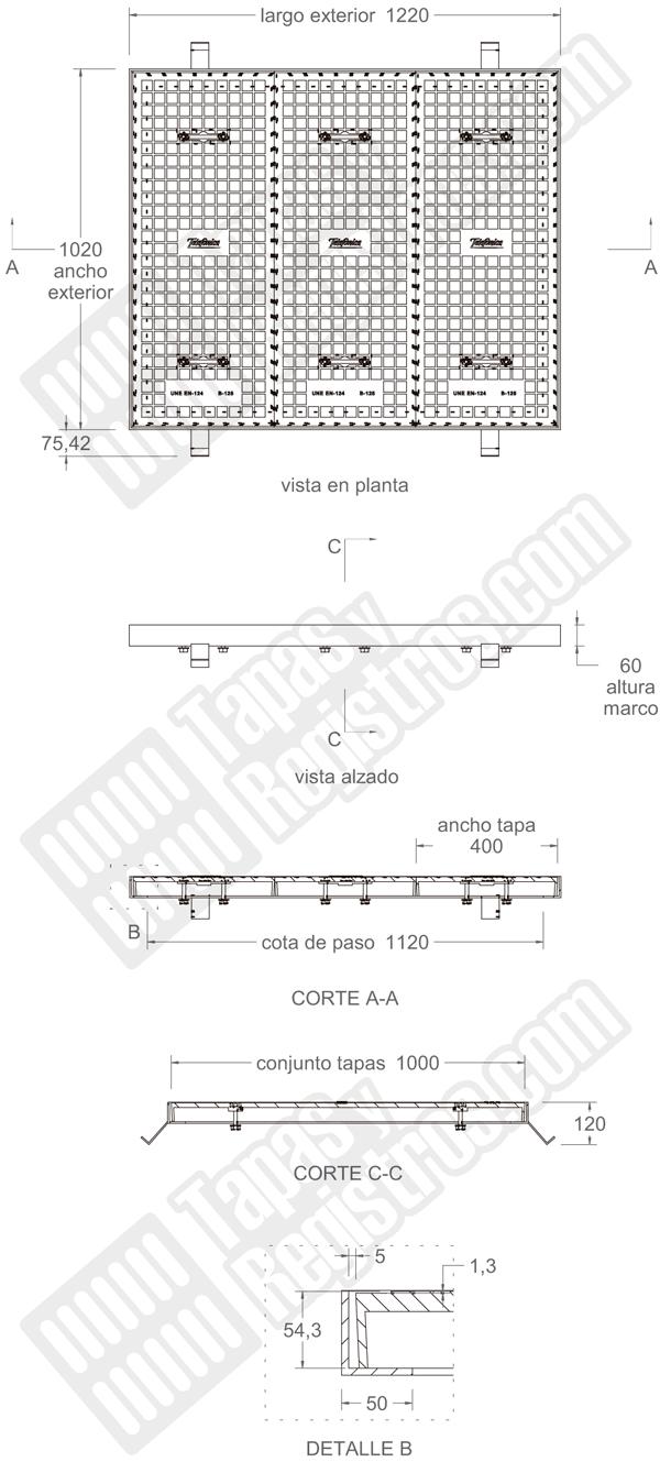 Tapa de fundición dúctil de 1220x1120 mm clase B-125 de 3 hojas TIPO D
