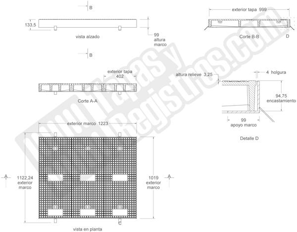 Tapa de fundición dúctil de 1220x1120 mm clase D-400 de 3 hojas TIPO D