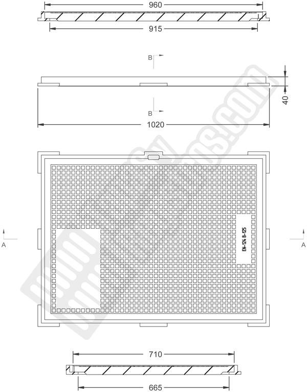 Tapas para arquetas en fundición dúctil clase B-125 960x710 mm