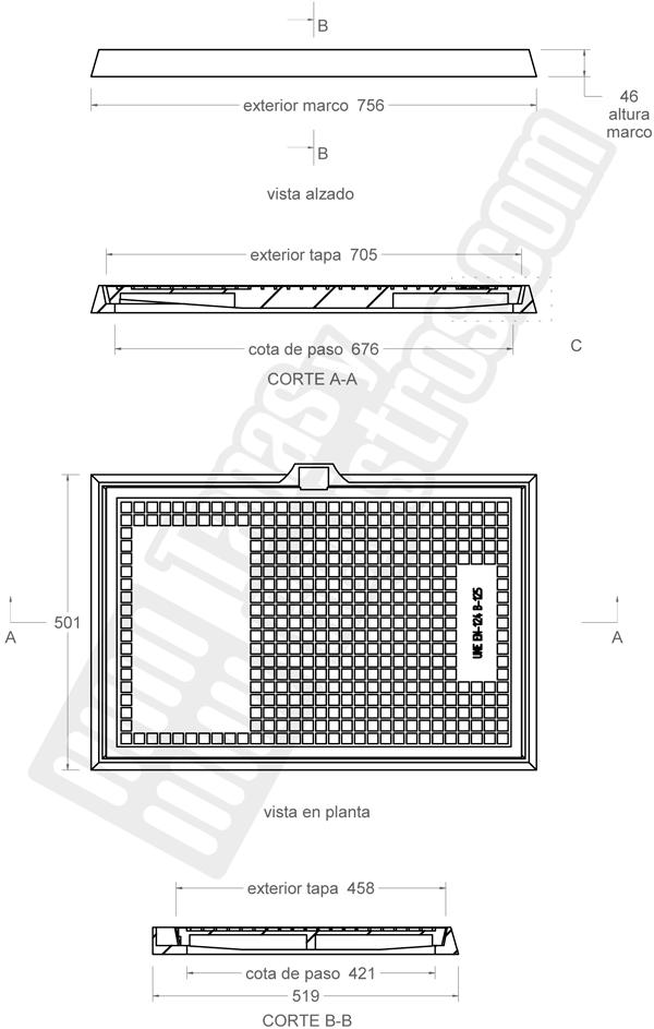 Tapas para arquetas en fundición dúctil clase B-125 705x458 mm