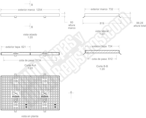 Tapa y marco 1242x724 mm Sevillana fundición dúctil D400