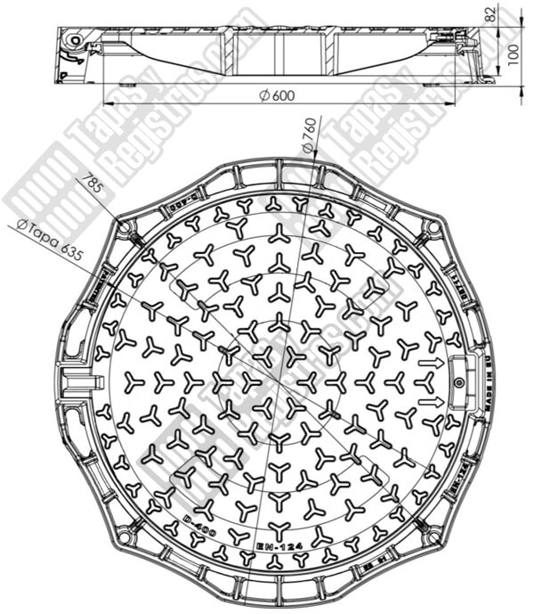 Tapas de arquetas en fundición dúctil D-400 Ø 610 mm H 100 mm