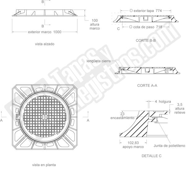 Tapas para arquetas en fundición dúctil D-400 Ø 774 mm H 100 mm