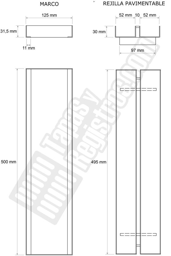 Registro para rejilla ranurada oculta de 125x500 mm en acero galvanizado