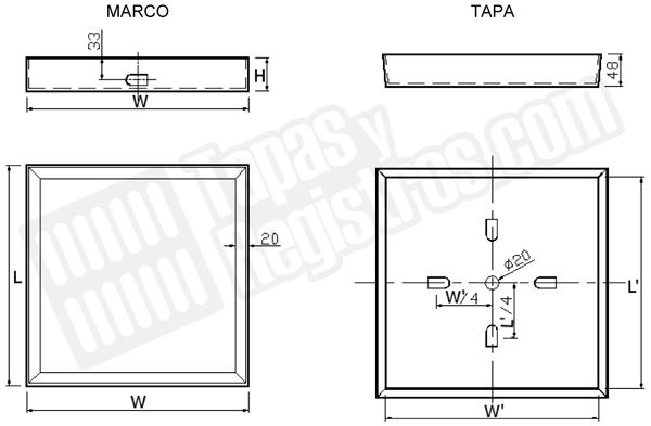 Tapas para arquetas en acero galvanizado rellenable - Normal