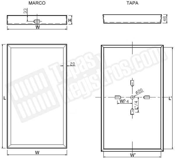 Tapas para arquetas en acero galvanizado rellenable rectangular