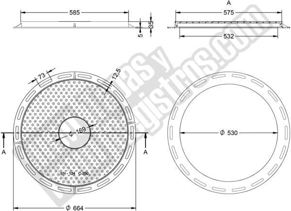 Tapas para arquetas en fundición dúctil 250KN Ø 575 mm H 35 mm