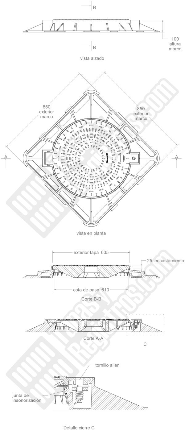 Tapas de arquetas en fundición Ø 635 850x850 mm E-600 con cierre