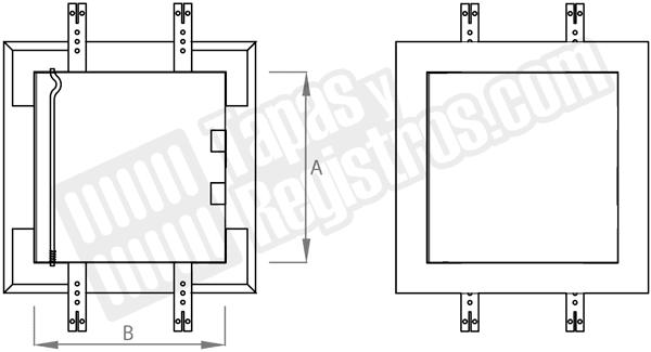 Trampilla de registro metálica lacada en blanco sobrepuesta