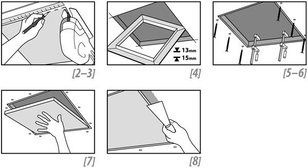 Montaje de trampilla de registro estandar de cartón yeso y aluminio
