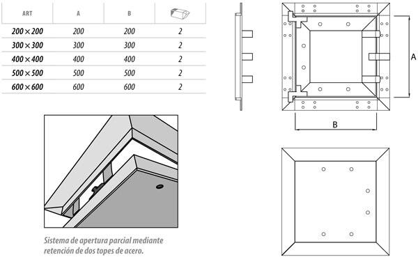 Trampilla de registro estandar de cartón yeso y aluminio